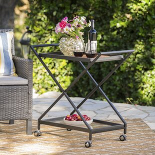 Charlton Home Hanrahan Outdoor Iron Bar Serving Cart