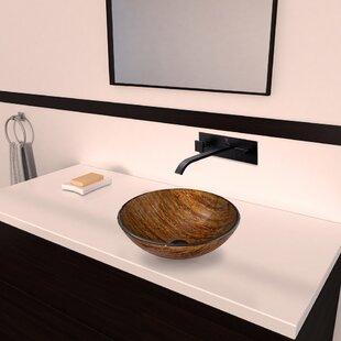 Amber Sunset Glass Circular Vessel Bathroom Sink with Faucet VIGO