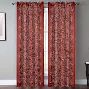 Bandhini Graphic Print and Text Sheer Rod Pocket Curtain Panels (Set of 2)