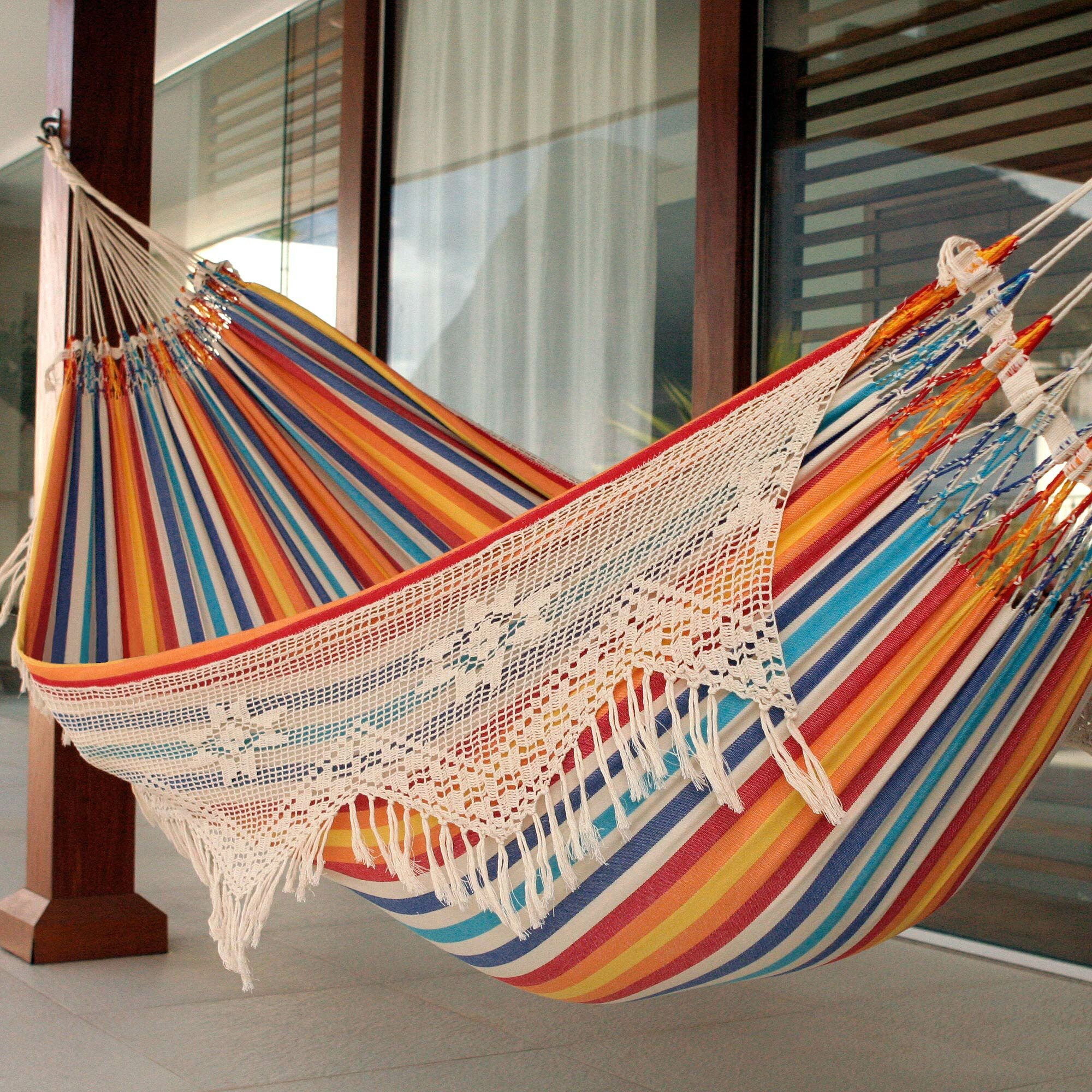 novica double person fair trade portable festive striped hand woven brazilian cotton with crocheted florid draping indoor and outdoor hammock  u0026 reviews       novica double person fair trade portable festive striped hand      rh   wayfair