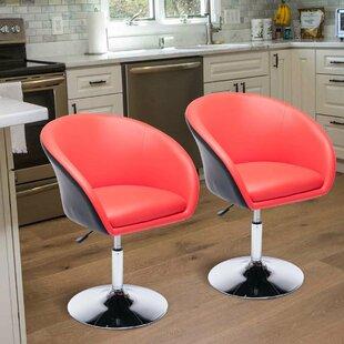 Martens Egg Shaped Barber Salon Tufted Adjustable Height Swivel Bar Stool (Set of 2) by Orren Ellis