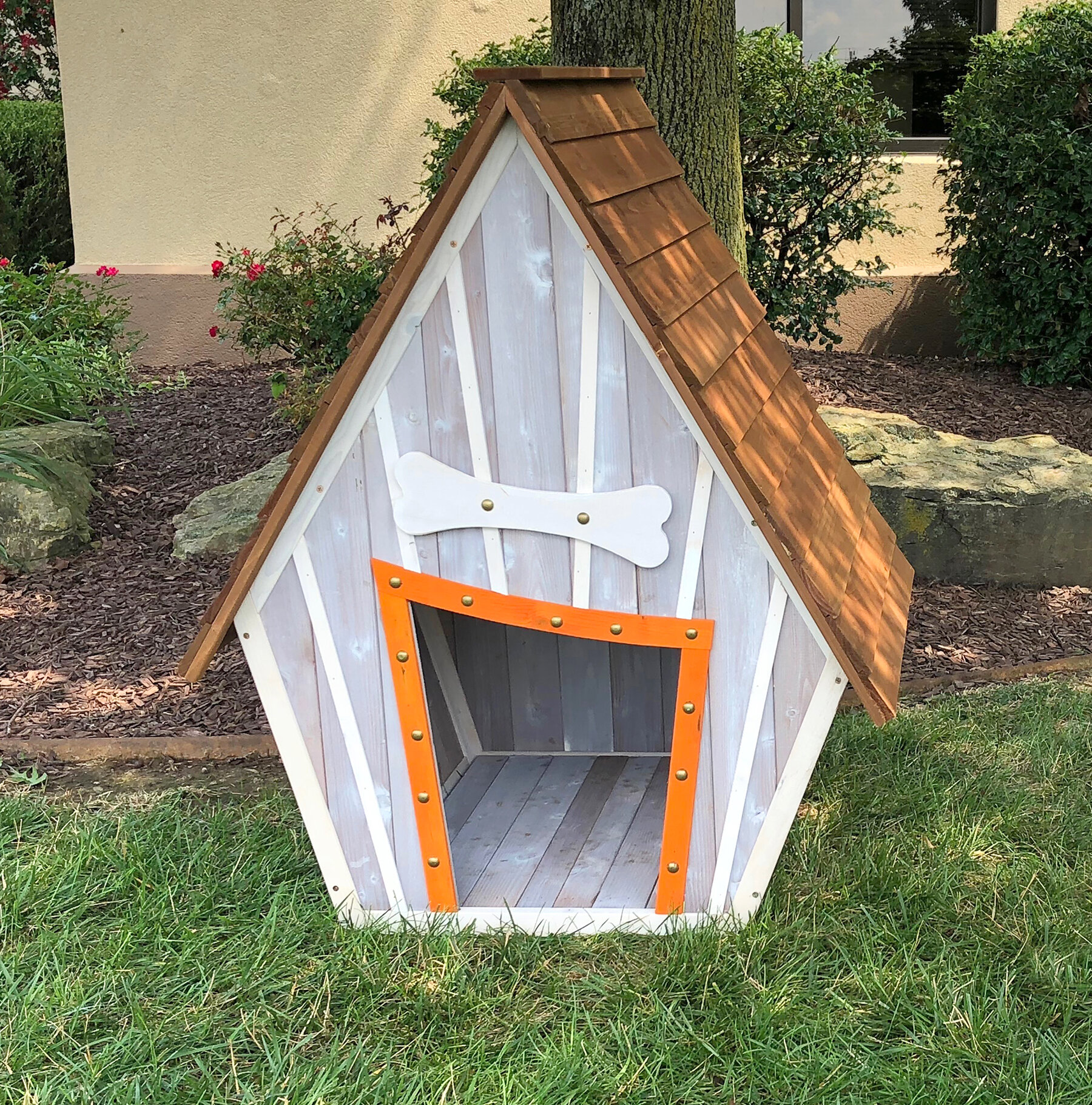 Tucker Murphy Pet Bollman Crooked Wooden Dog House Wayfair
