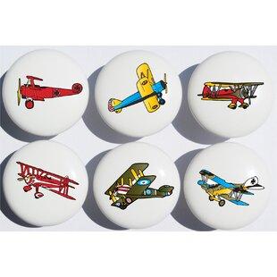 Vintage Airplane Mushroom Knob (Set of 6)