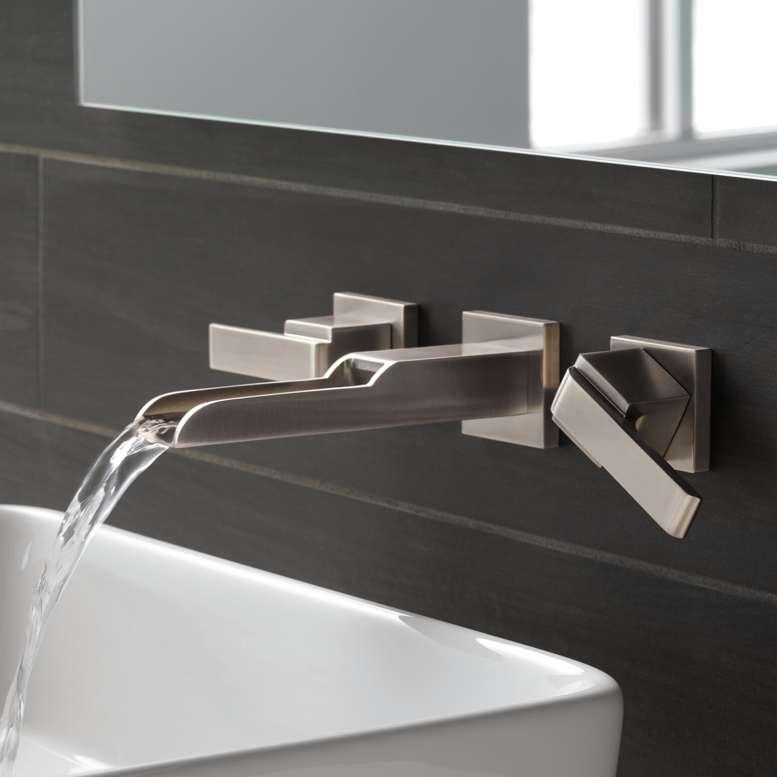 Delta Ara Two Handle Wall-Mount Lavatory Faucet with Channel Spout ...