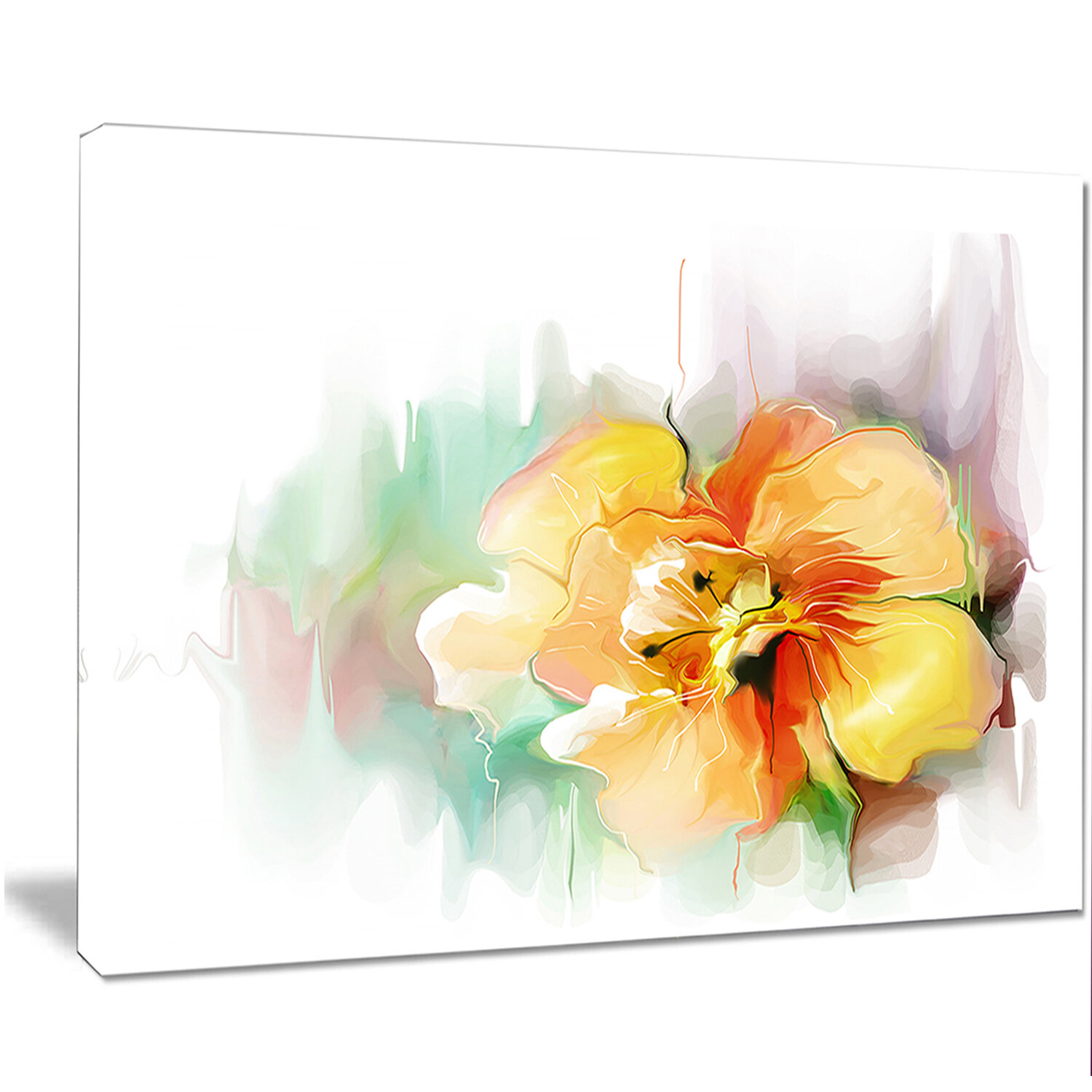 Designart Beautiful Yellow Flower Drawing Painting Print On