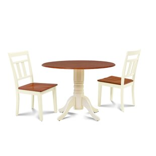 Chesterton Transitional 3 Piece Solid Wood Dining Set Alcott Hill