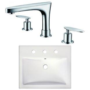 Top Reviews Xena Farmhouse Semi-Recessed Rectangular Vessel Bathroom Sink with Faucet ByRoyal Purple Bath Kitchen