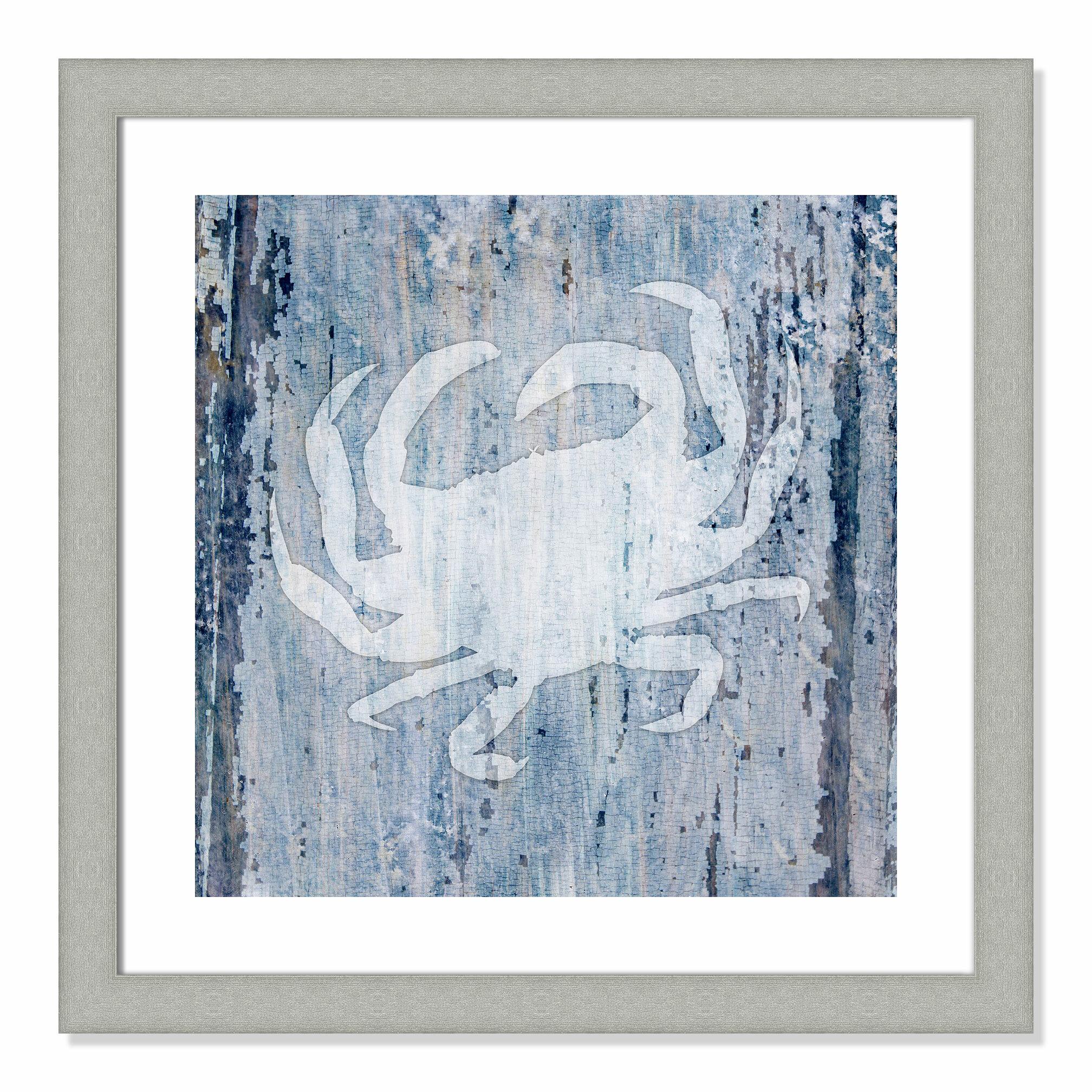 Rosecliff Heights Sealife Crab Framed Graphic Art Print Wayfair