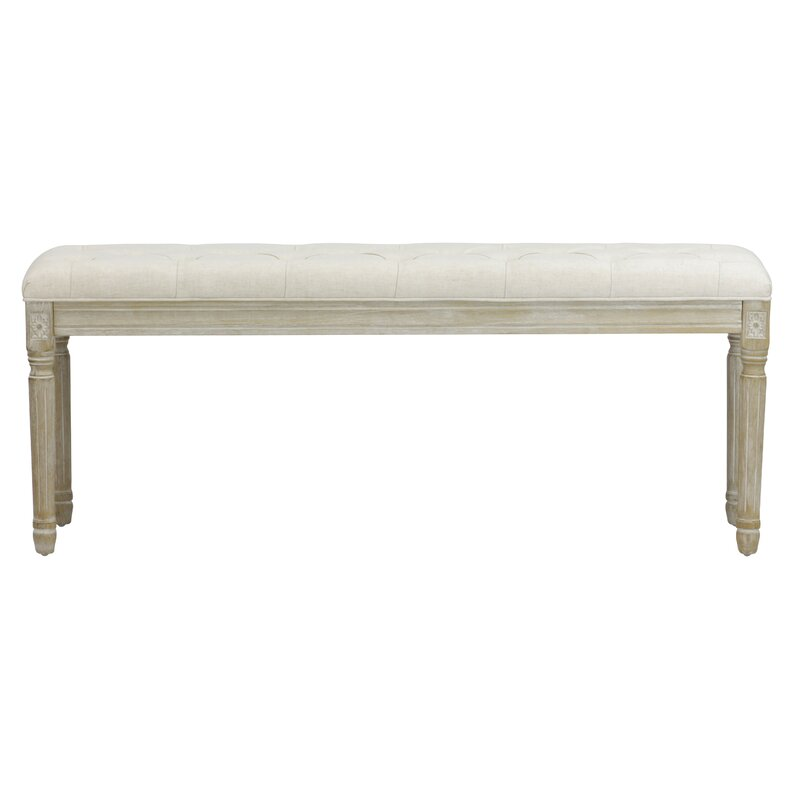 Wicks French Upholstered Bench #frenchcountry #bench #linen #upholstered #frenchbench