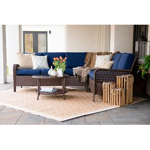 Kettner 5 Piece Rattan Sectional Set with Cushions