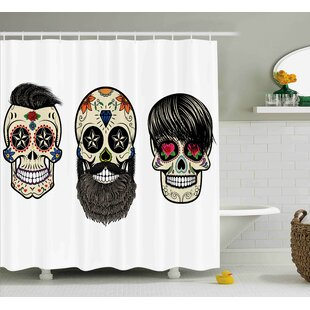 Verla Day of The Dead Skull Human Heads With Happy Faces Floral and Geometric Shaped Eyes Single Shower Curtain