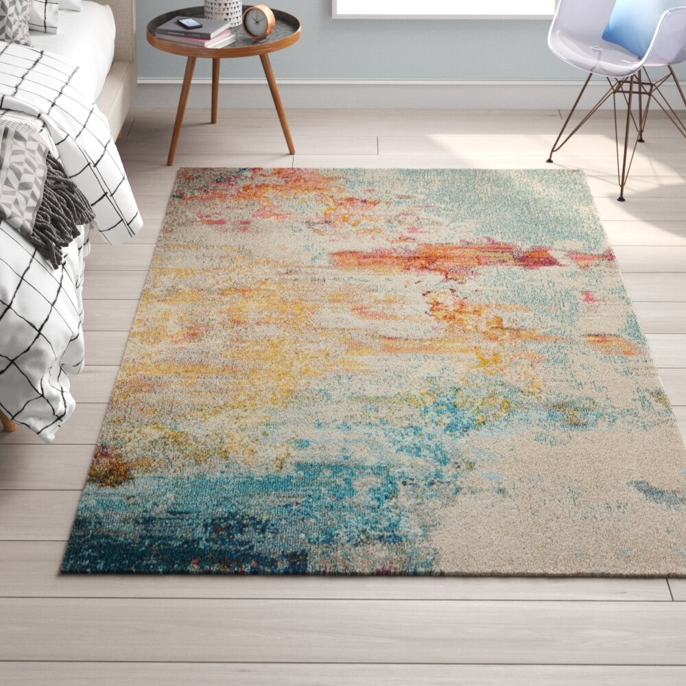 Wrought Studio Shugart Sealife Teal Orange Area Rug Wayfair