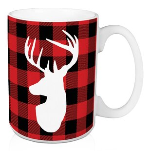 Castro White Deer Head on Red Buffalo Plaid Coffee Mug