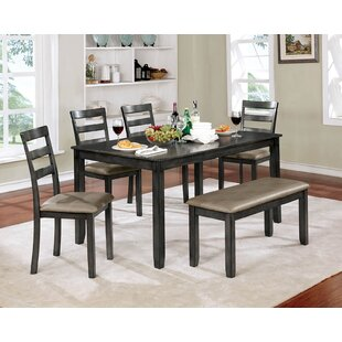 Millwood Pines Reilly Wooden 6 Piece Counter Height Dining Table Set