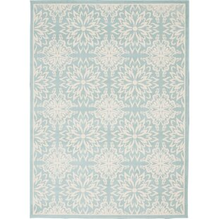 Boggess Floral Ivory/Seafoam Green Area Rug by Bungalow Rose