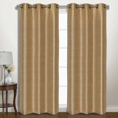 "Vintage Solid Blackout Grommet Curtain Panels United Curtain Co. Size per Panel: 74"" W x 63"" L, Curtain Color: Gold"