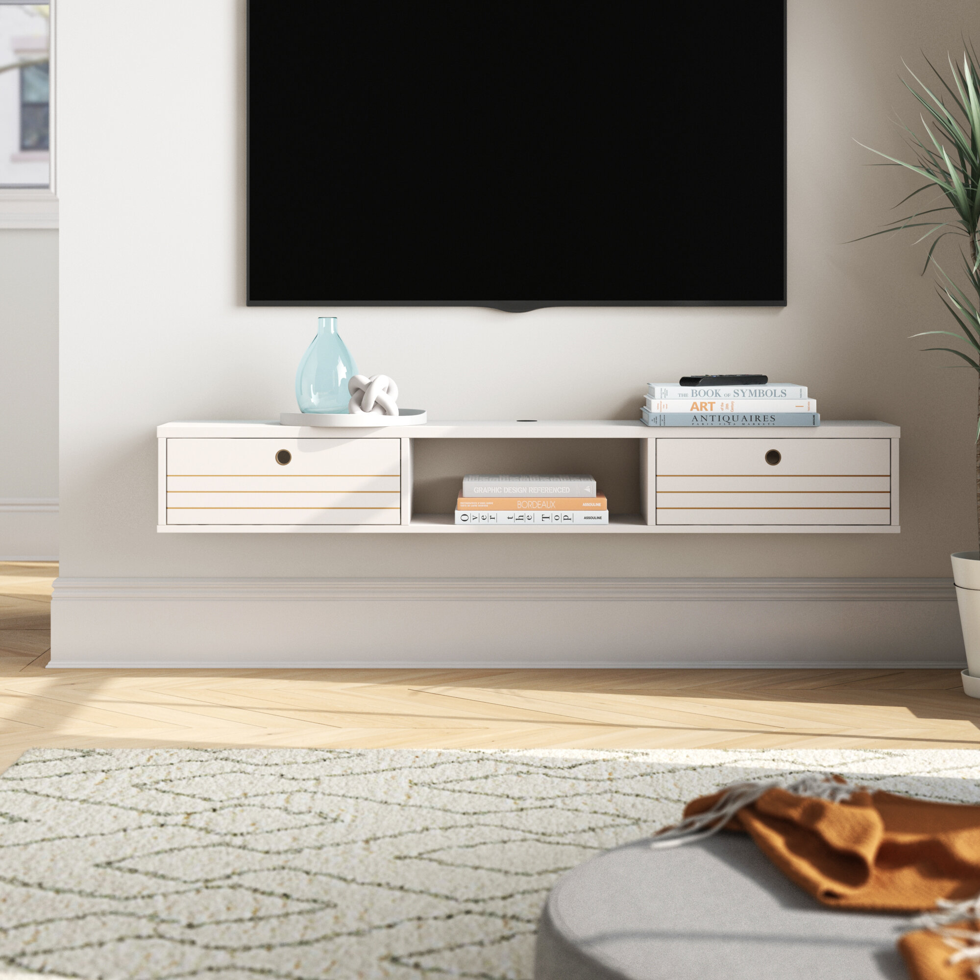Image of: Foundstone Hayward 62 99 Mid Century Modern Floating Entertainment Centre With 3 Shelves In Off White Reviews Wayfair Ca