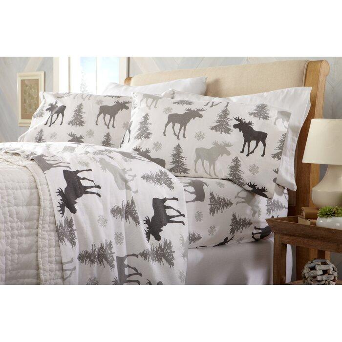 Clymer Moose Super Soft Printed Flannel Cotton Sheet Set