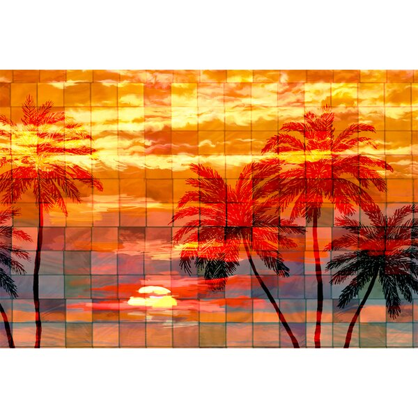 Ptm Images Mosaic Sunset Painting Print On Wrapped Canvas Wayfair