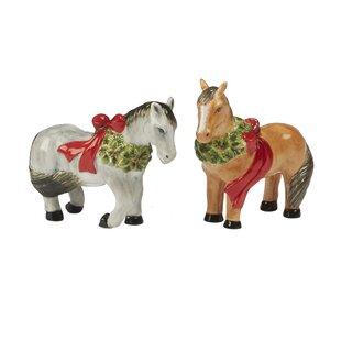 Christmas on the Farm 3D Horse Salt & Pepper Shaker Set
