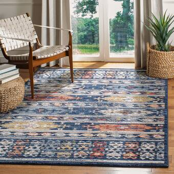 World Menagerie Sechovicz Navy Red Area Rug Wayfair
