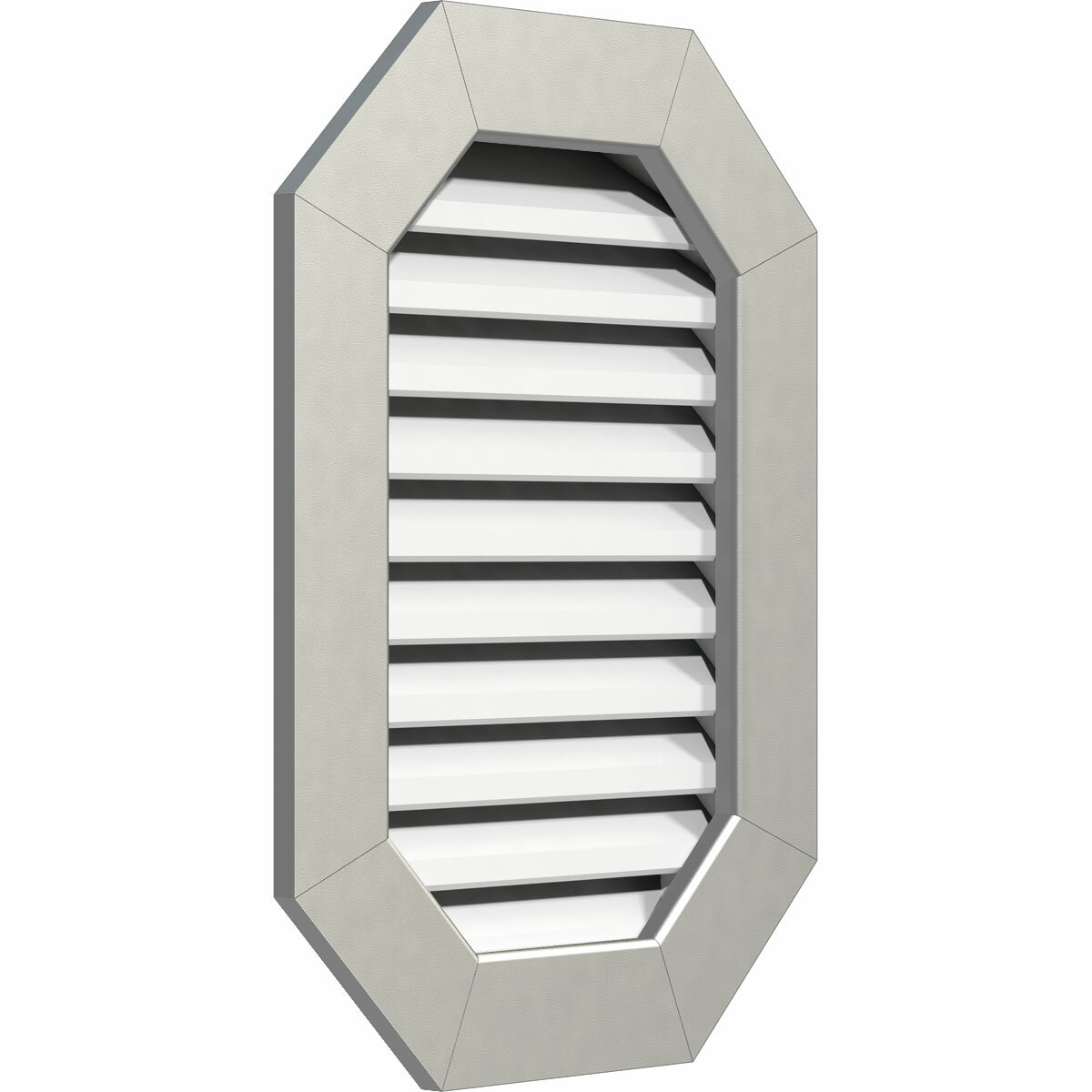 Ekena Millwork Pvc Vertical Elongated Octagon Gable Vent With Flat Trim Frame In White Wayfair