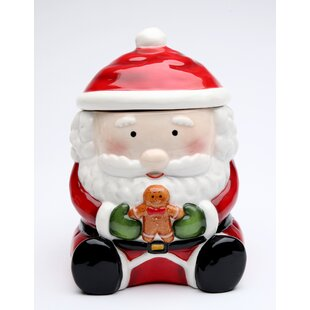 Santa with Gingerbread Man Storage Jar