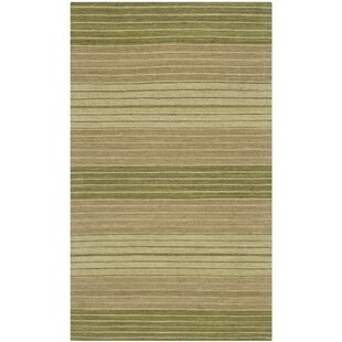 Jefferson Hand Woven Cotton Green Area Rug byWrought Studio