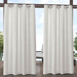 Griggs Solid Semi-Sheer Outdoor Grommet Panel Pair (Set of 2) by Rosecliff Heights
