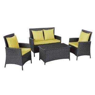Flourish 4 Piece Rattan Sofa Set with Cushions