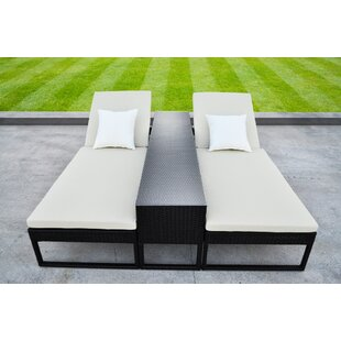 Solis Patio Corressa Chaise Lounge Set with Cushions (Set of 3)