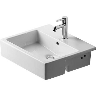 Great Price Vero Ceramic Rectangular Drop-In Bathroom Sink with Overflow By Duravit