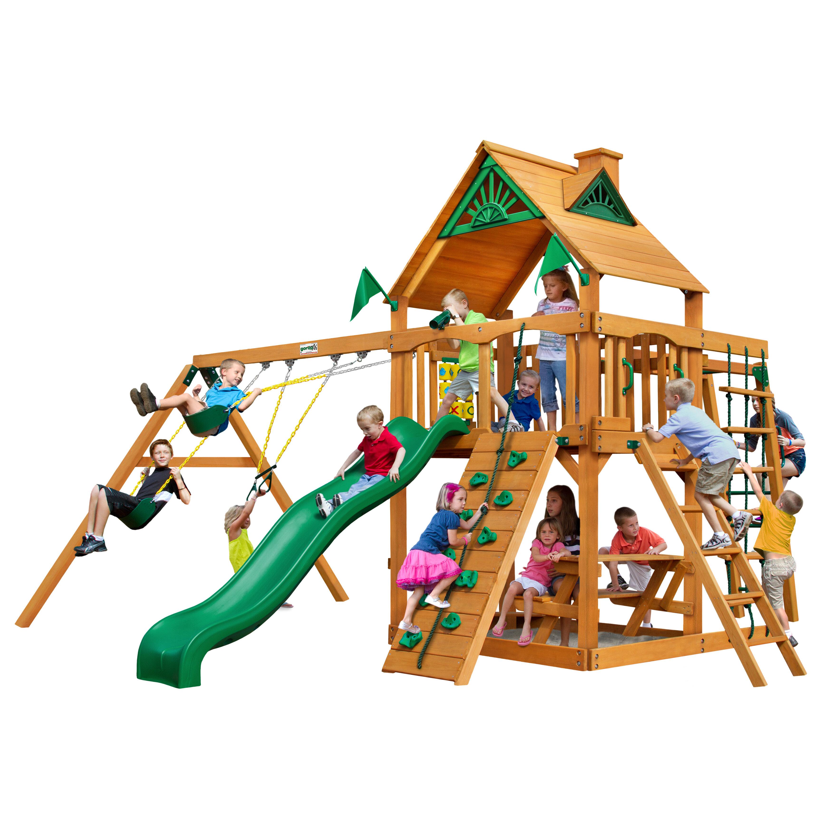 Gorilla Playsets Navigator Swing Set With Wood Roof Wayfair