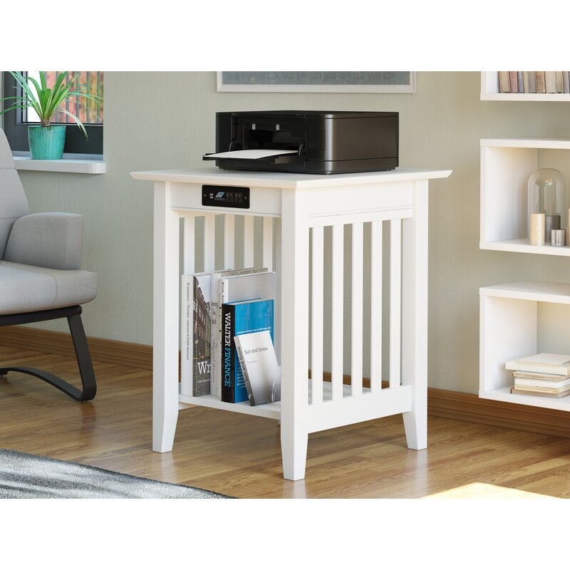 Charlton Home Tollett End Table With Storage And Built In Outlets Reviews Wayfair
