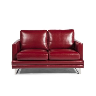 Hitchcock Leather Loveseat..