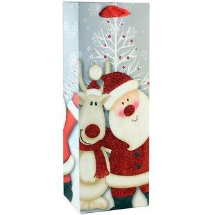 Printed Santa Single Bottle Carrier