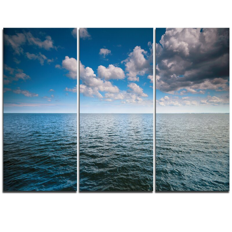 Designart Cloudy Blue Sky Above Sea Surface 3 Piece Graphic Art On Wrapped Canvas Set Wayfair