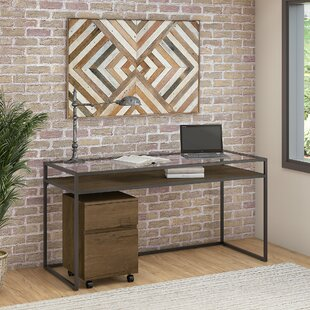 Alcantar Bush Furniture Anthropology Glass Desk and Filing Cabinet Set