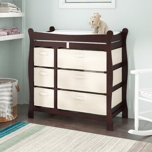 Best Shannon Sleigh Style Baby Changing Table with 6 Baskets By Viv + Rae
