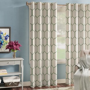 Almaguer Geometric Semi-Sheer Grommet Single Curtain Panel by Three Posts