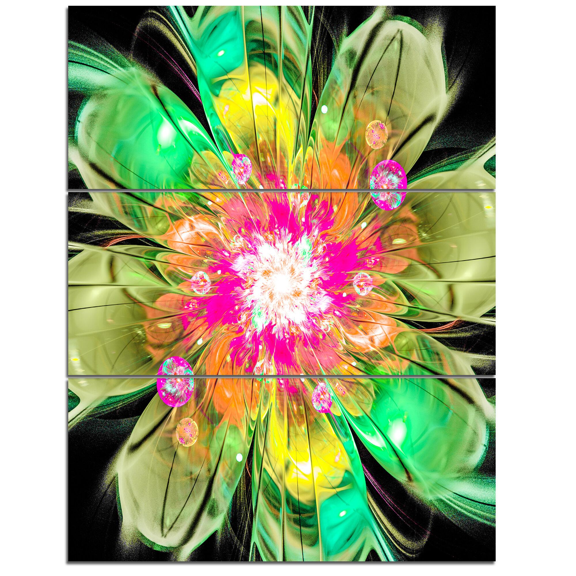 Designart Green Fractal Flower Petals Close 3 Piece Graphic Art On Wrapped Canvas Set Wayfair