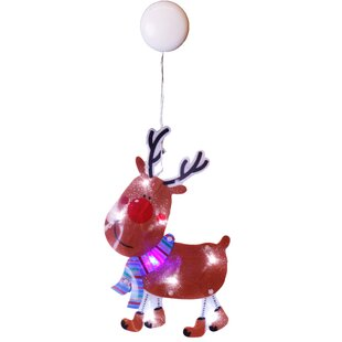 Red LED Reindeer Lighted Window Décor By The Seasonal Aisle