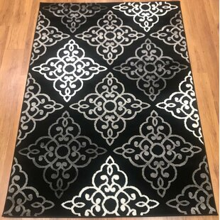 Comparison Ontonagon Trellis Black/Gray Area Rug By Winston Porter