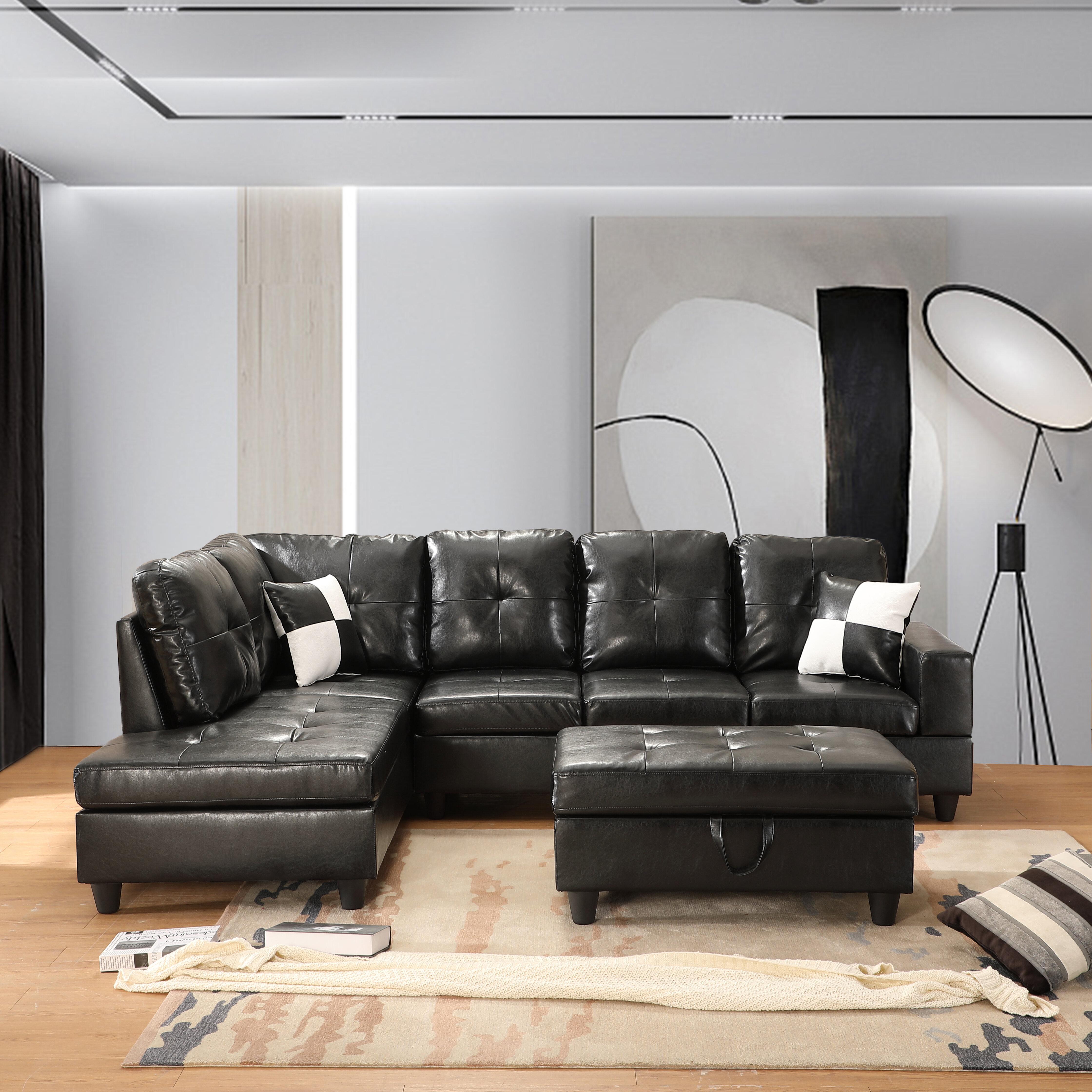 Latitude Run Caitlin Rose 103 5 Faux Leather Sofa Chaise With Ottoman Wayfair