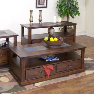 Fresno Coffee Table with Casters by Loon Peak