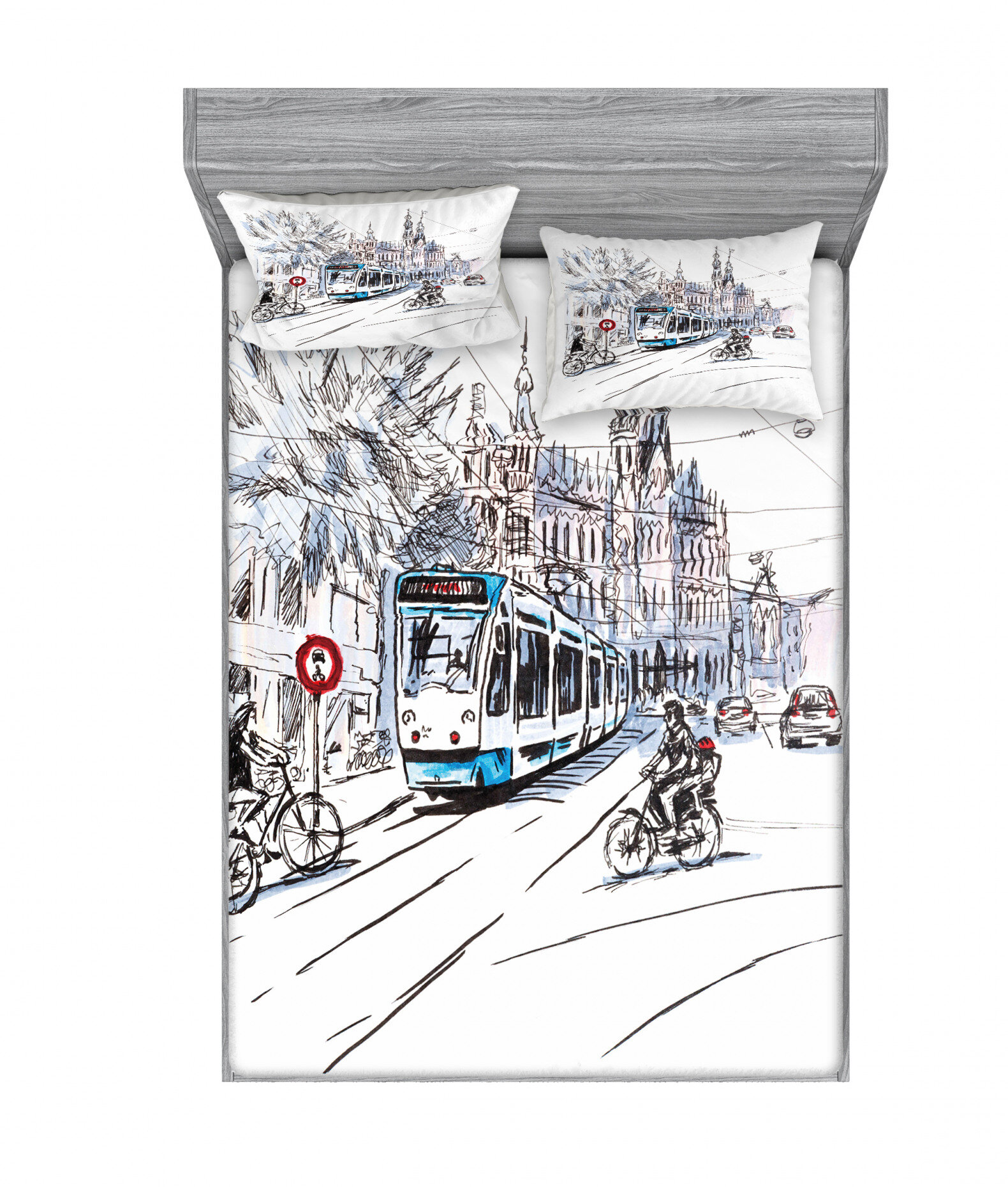 East Urban Home Bicyclists Cityscape Of Amsterdam Netherlands Sheet Set Wayfair
