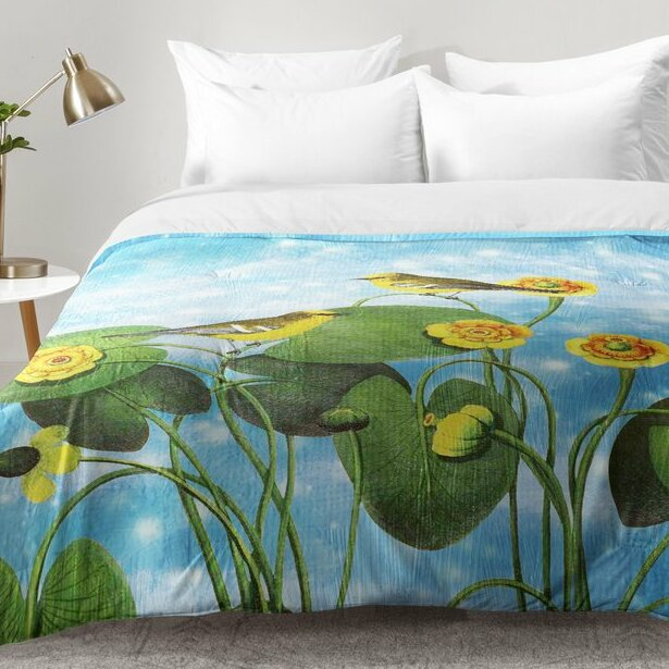 East Urban Home Walker Love Chirp On Water Lilies Comforter Set