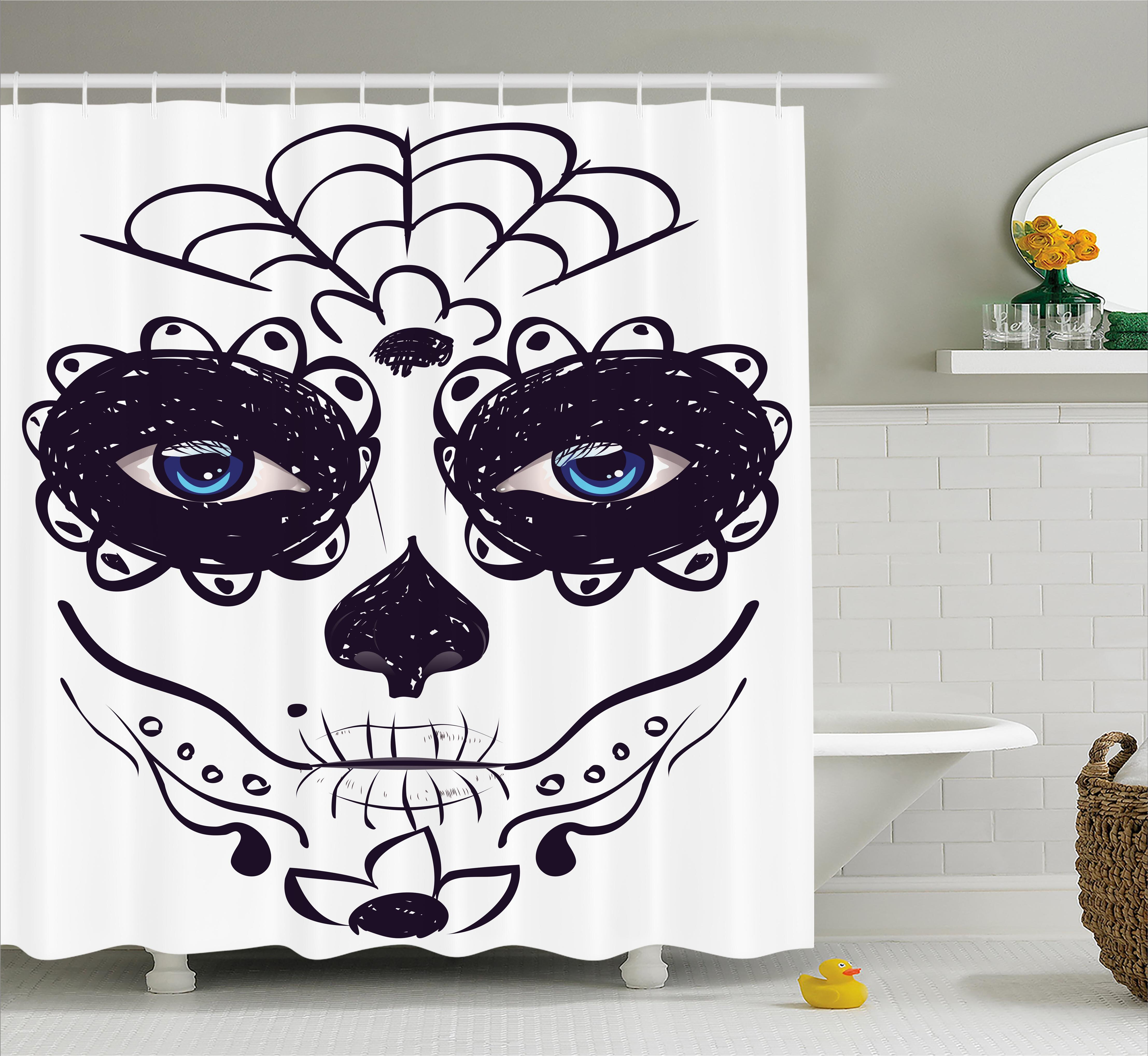 Ebern Designs Lorie Day Of The Dead Dia De Los Muertos Sugar Skull Girl Face With Mask Make Up Shower Curtain