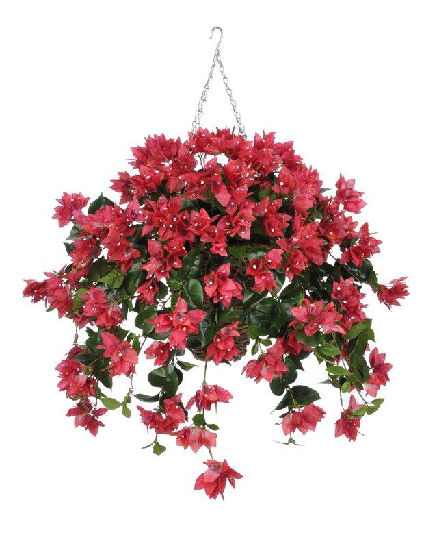 House of silk flowers artificial bougainvillea hanging plant in artificial bougainvillea hanging plant in square basket mightylinksfo