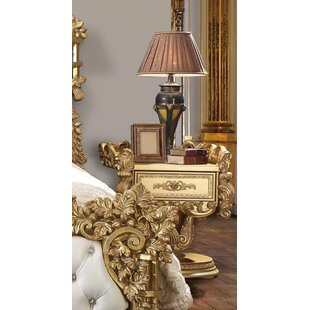 Charis Luxurious European Traditional Style Victorian Bedroom Poly Resin 1 Drawer Nightstand by Astoria Grand